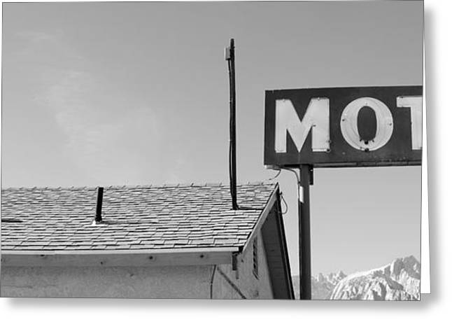 Lone Pine Greeting Cards - Low Angle View Of A Motel Sign, Eastern Greeting Card by Panoramic Images