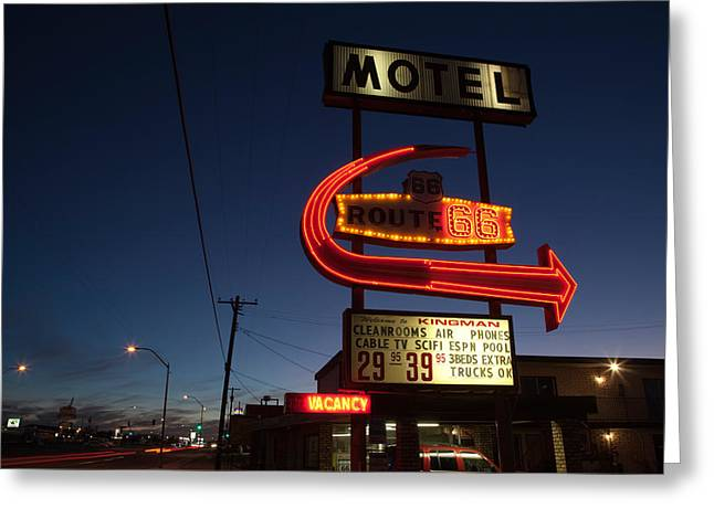 Long Street Greeting Cards - Low Angle View Of A Motel Sign, Route Greeting Card by Panoramic Images