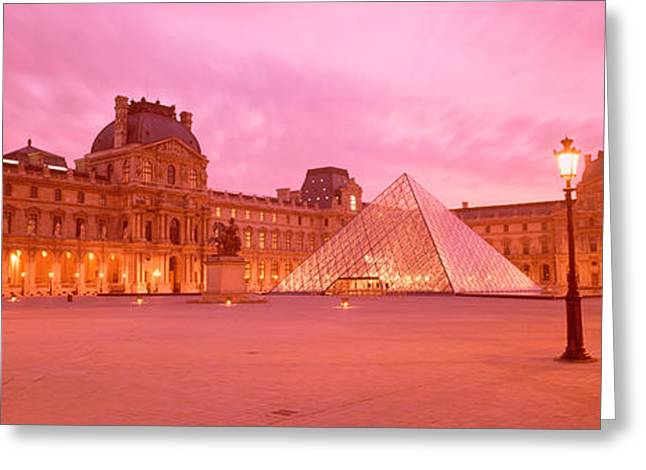 Pyramids Greeting Cards - Low Angle View Of A Museum, Musee Du Greeting Card by Panoramic Images