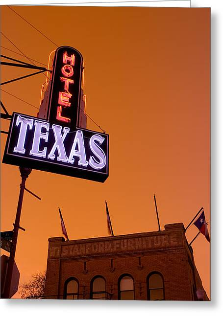 Stockyards Greeting Cards - Low Angle View Of A Neon Sign Greeting Card by Panoramic Images