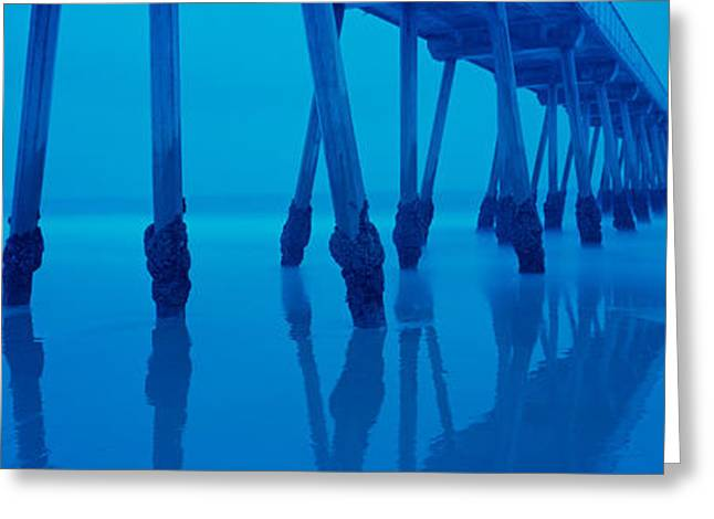 California Beach Greeting Cards - Low Angle View Of A Pier, Hermosa Beach Greeting Card by Panoramic Images