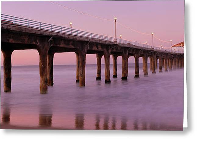 Illuminate Greeting Cards - Low Angle View Of A Pier, Manhattan Greeting Card by Panoramic Images