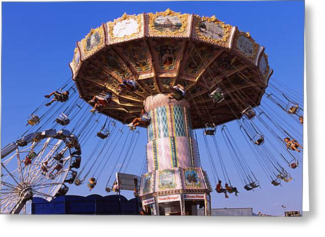 Amusement Park Ride Greeting Cards - Low Angle View Of A Ride At An Greeting Card by Panoramic Images
