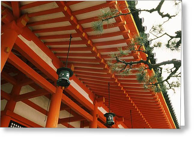 Honshu Greeting Cards - Low Angle View Of A Shrine, Heian Jingu Greeting Card by Panoramic Images