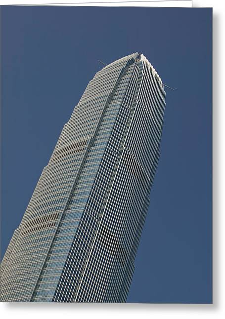 Hong Kong Island Greeting Cards - Low Angle View Of A Skyscraper, Two Greeting Card by Panoramic Images