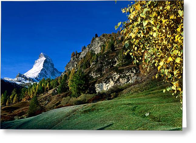 Mountain Greeting Cards - Low Angle View Of A Snowcapped Greeting Card by Panoramic Images