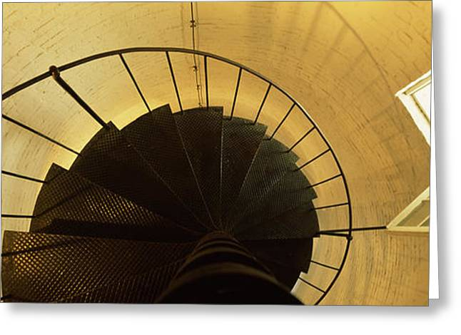 Spiral Staircase Photographs Greeting Cards - Low Angle View Of A Spiral Staircase Greeting Card by Panoramic Images