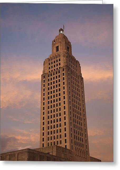 Baton Rouge Greeting Cards - Low Angle View Of A State Capitol Greeting Card by Panoramic Images