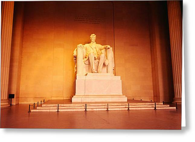 President Of America Photographs Greeting Cards - Low Angle View Of A Statue Of Abraham Greeting Card by Panoramic Images