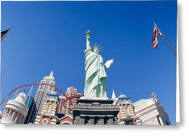 American Flag Photography Greeting Cards - Low Angle View Of A Statue, Replica Greeting Card by Panoramic Images