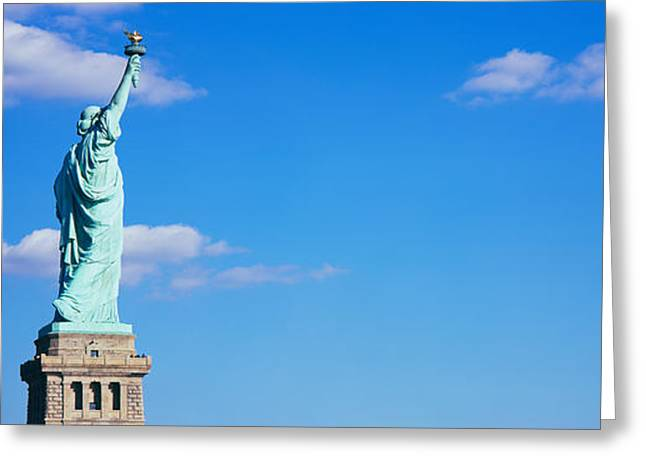 Liberty Greeting Cards - Low Angle View Of A Statue, Statue Greeting Card by Panoramic Images