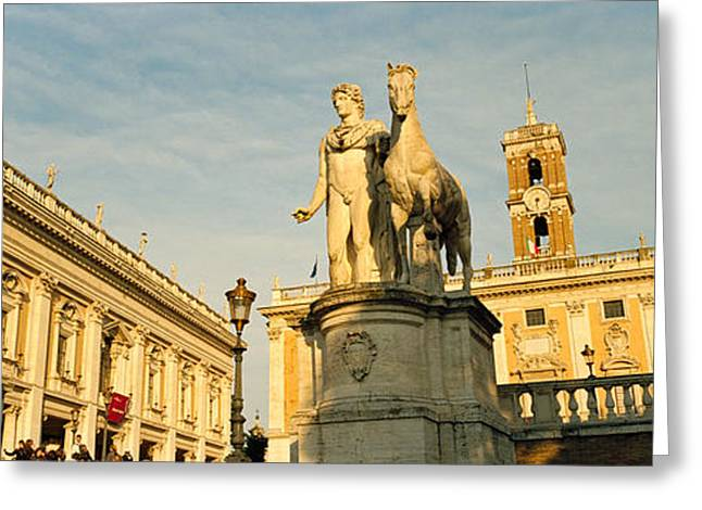 Italian Culture Greeting Cards - Low Angle View Of A Statues In Front Greeting Card by Panoramic Images