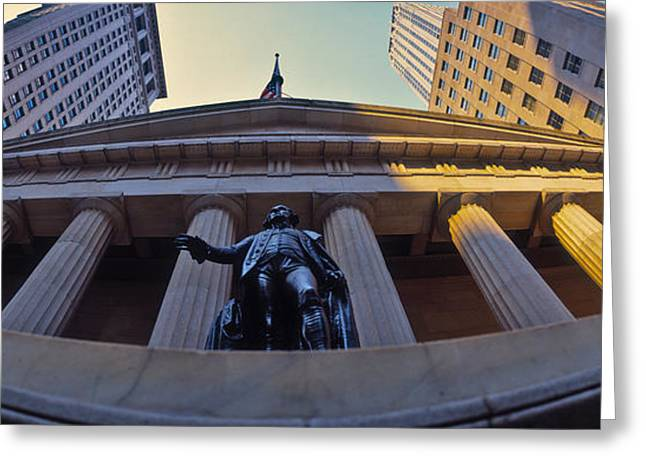 Neo Greeting Cards - Low Angle View Of A Stock Exchange Greeting Card by Panoramic Images