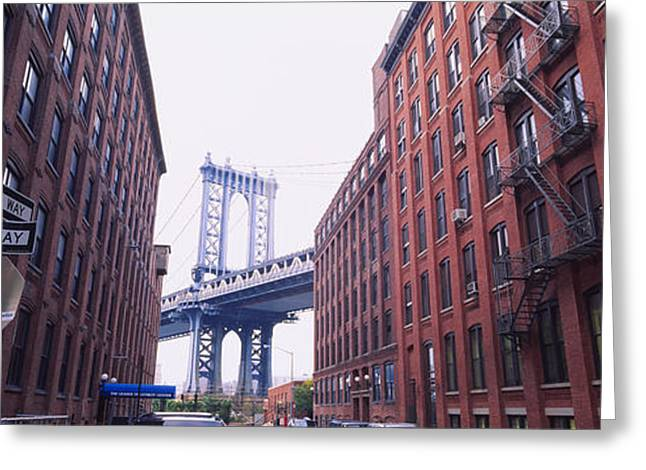 New York City Fire Escapes Greeting Cards - Low Angle View Of A Suspension Bridge Greeting Card by Panoramic Images