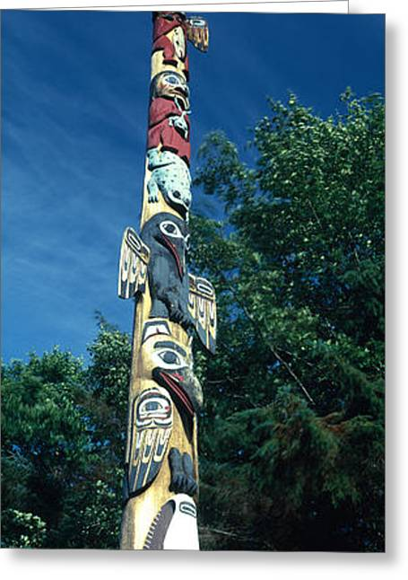 Tongass Greeting Cards - Low Angle View Of A Totem Pole, Totem Greeting Card by Panoramic Images