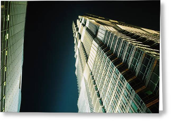 Pudong Greeting Cards - Low Angle View Of A Tower, Jin Mao Greeting Card by Panoramic Images