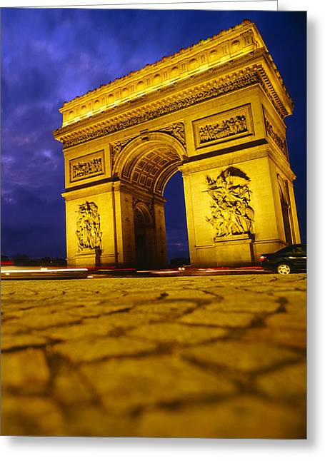Arc De Triomphe Greeting Cards - Low Angle View Of A Triumphal Arch, Arc Greeting Card by Panoramic Images