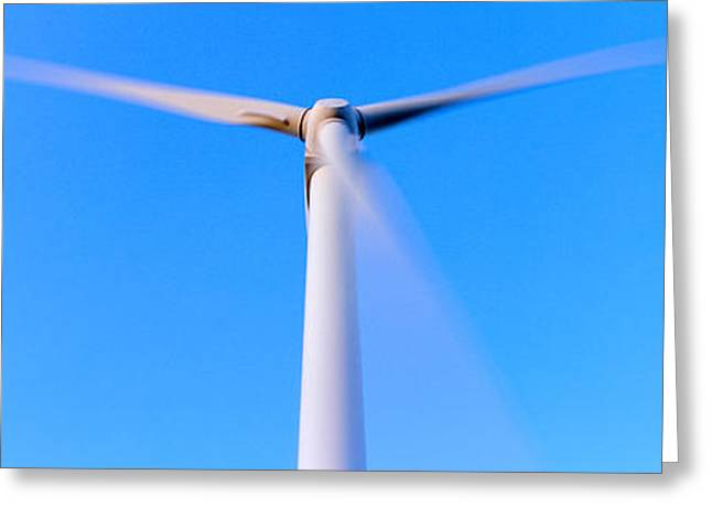 Border Photographs Greeting Cards - Low Angle View Of A Wind Turbine Greeting Card by Panoramic Images