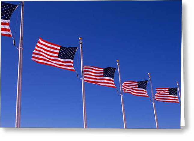 American Flag Photography Greeting Cards - Low Angle View Of American Flags Greeting Card by Panoramic Images