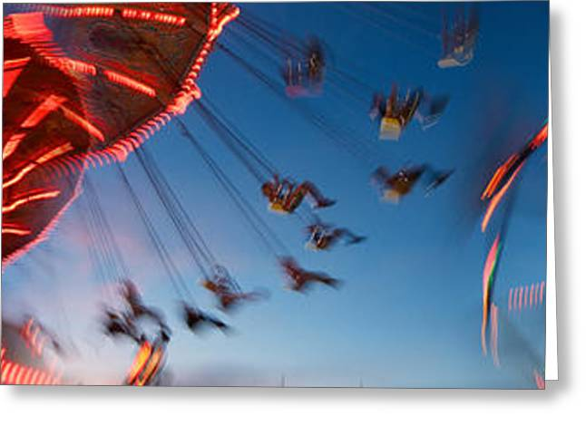 Amusements Greeting Cards - Low Angle View Of Amusement Park Rides Greeting Card by Panoramic Images
