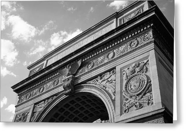 Washington Square Park Greeting Cards - Low Angle View Of An Arch, Washington Greeting Card by Panoramic Images