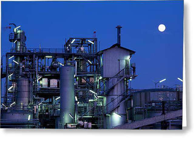 Fossil Fuel Greeting Cards - Low Angle View Of An Oil Refinery Greeting Card by Panoramic Images