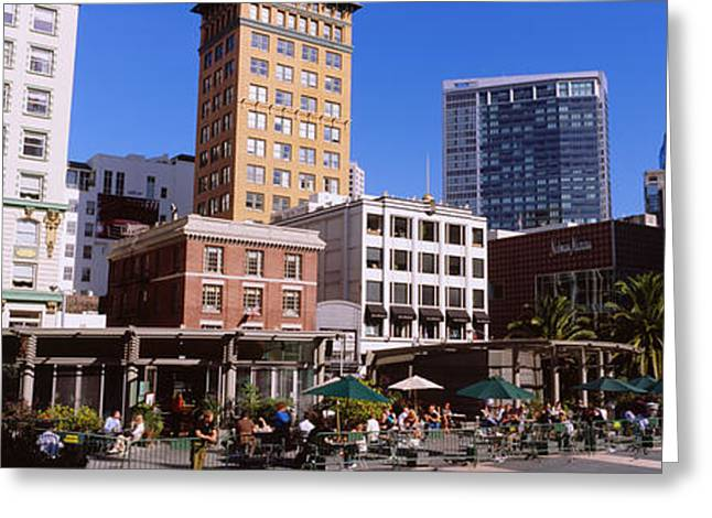 Union Square Photographs Greeting Cards - Low Angle View Of Buildings At A Town Greeting Card by Panoramic Images