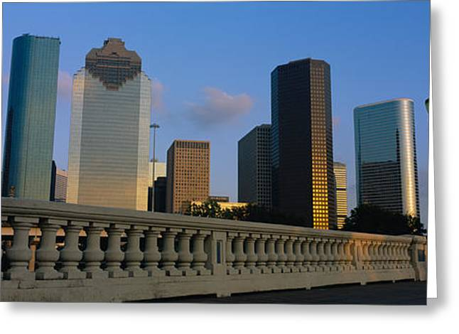 Commercial Building Greeting Cards - Low Angle View Of Buildings, Houston Greeting Card by Panoramic Images