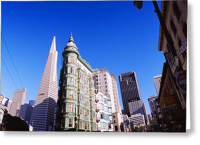 Western Script Greeting Cards - Low Angle View Of Buildings In A City Greeting Card by Panoramic Images