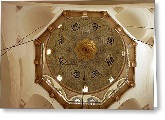Directly Below Greeting Cards - Low Angle View Of Ceiling In A Mosque Greeting Card by Panoramic Images