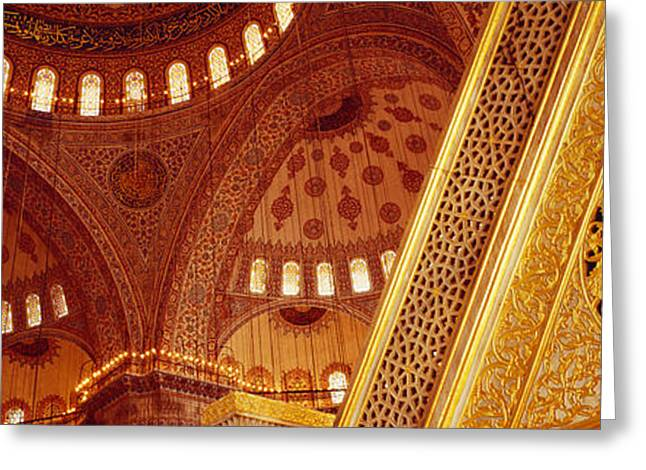 Decor Photography Photographs Greeting Cards - Low Angle View Of Ceiling Of A Mosque Greeting Card by Panoramic Images