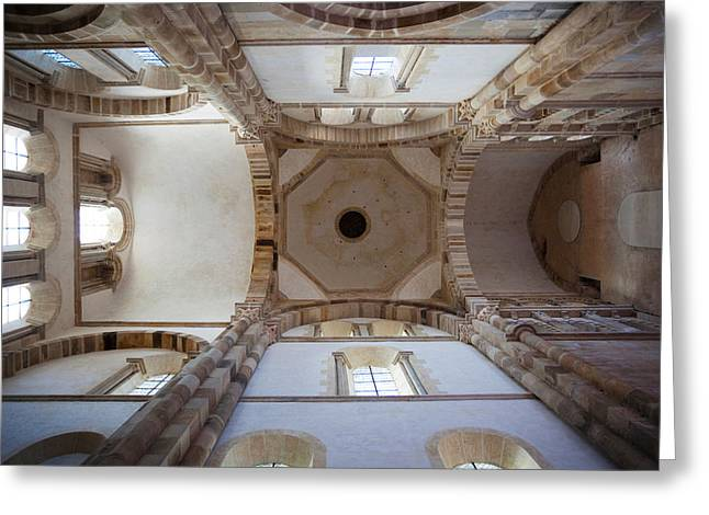 Burgundy Greeting Cards - Low Angle View Of Ceiling Of An Abbey Greeting Card by Panoramic Images