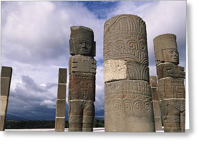Mexican Culture Greeting Cards - Low Angle View Of Clouds Over Statues Greeting Card by Panoramic Images