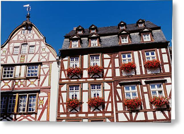 Half-timbered Greeting Cards - Low Angle View Of Decorated Buildings Greeting Card by Panoramic Images