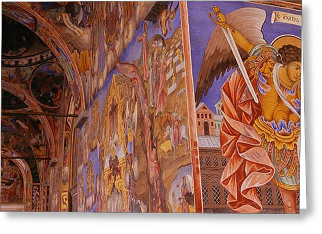 Low Wall Greeting Cards - Low Angle View Of Fresco On The Walls Greeting Card by Panoramic Images