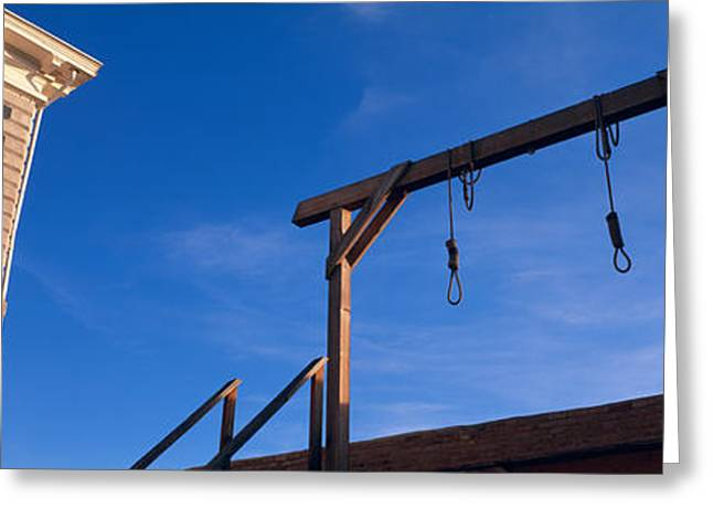 Gallows Greeting Cards - Low Angle View Of Gallows, Tombstone Greeting Card by Panoramic Images