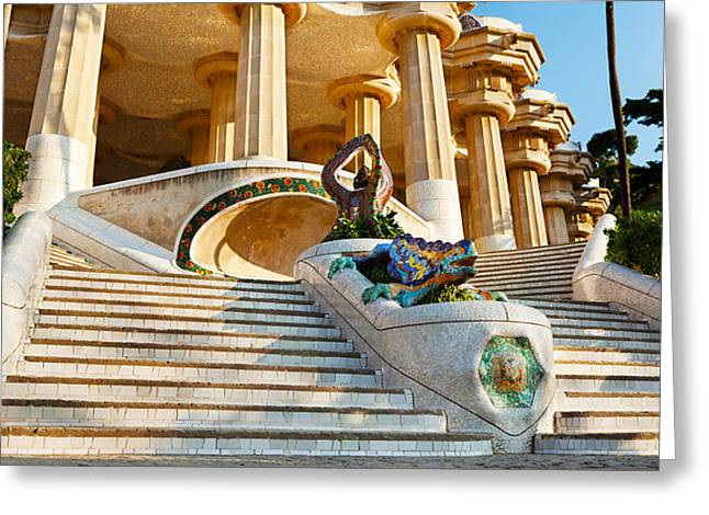 Art Of Building Greeting Cards - Low Angle View Of Hall Of Columns, Park Greeting Card by Panoramic Images