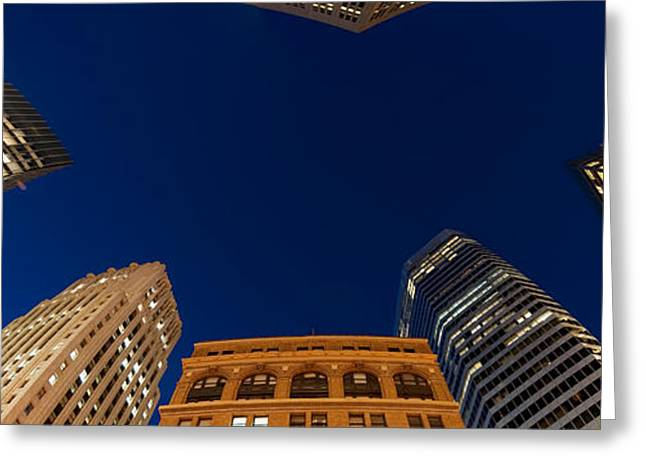 Directly Below Greeting Cards - Low Angle View Of High-rise Buildings Greeting Card by Panoramic Images
