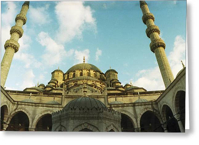 Istanbul Greeting Cards - Low Angle View Of Inside Of New Mosque Greeting Card by Panoramic Images