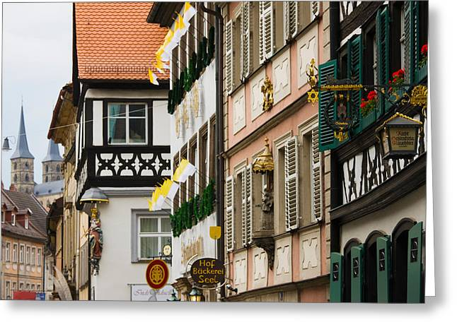 Low Angle View Of Lower Town Buildings Greeting Card by Panoramic Images