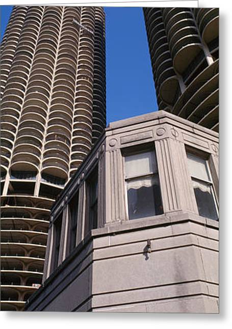 Corn On The Cob Greeting Cards - Low Angle View Of Marina Towers Greeting Card by Panoramic Images