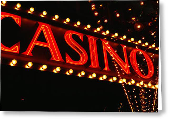 Script Greeting Cards - Low Angle View Of Neon Sign, Las Vegas Greeting Card by Panoramic Images