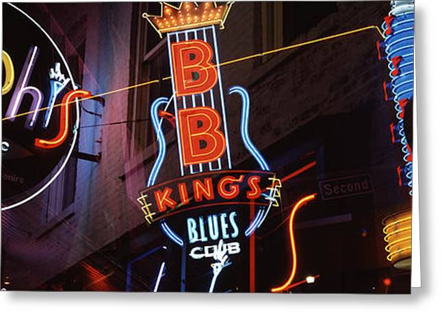 Tennessee Landmark Greeting Cards - Low Angle View Of Neon Signs Lit Greeting Card by Panoramic Images