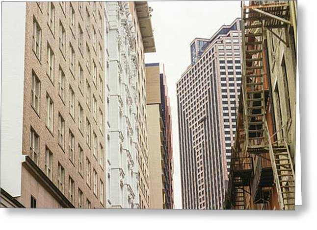 Old Photography Greeting Cards - Low Angle View Of Old And New Buildings Greeting Card by Panoramic Images