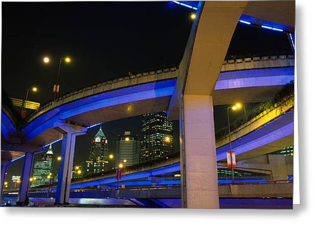 Low Road Greeting Cards - Low Angle View Of Overpasses, Shanghai Greeting Card by Panoramic Images