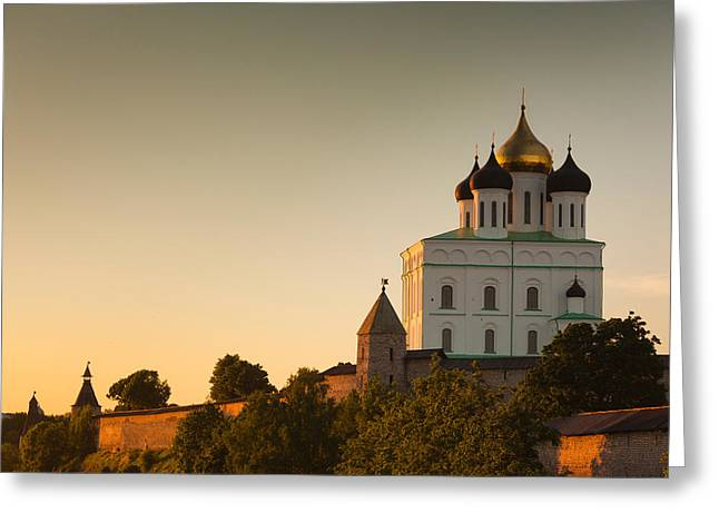 Russian Orthodox Greeting Cards - Low Angle View Of Pskov Kremlin Greeting Card by Panoramic Images