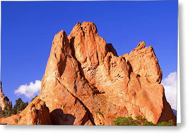 Garden Of The Gods Greeting Cards - Low Angle View Of Rock Formations Greeting Card by Panoramic Images