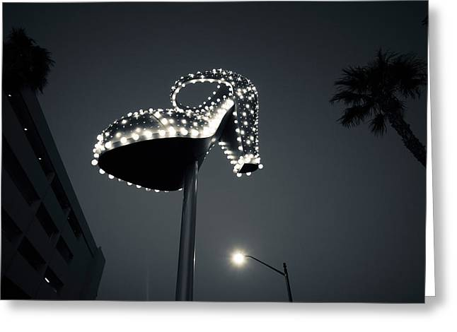 Fremont Street Greeting Cards - Low Angle View Of Ruby Slipper Neon Greeting Card by Panoramic Images