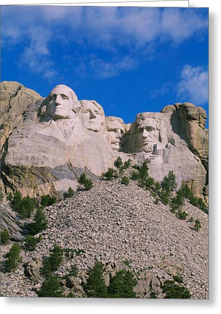 Mount Rushmore Greeting Cards - Low Angle View Of Sculptures Of Us Greeting Card by Panoramic Images