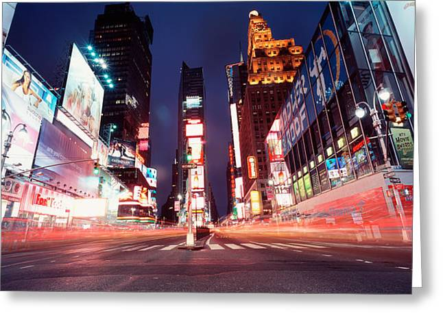 Low Road Greeting Cards - Low Angle View Of Sign Boards Lit Greeting Card by Panoramic Images